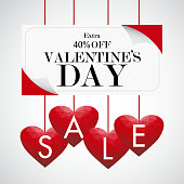 Valentine's day sale background with red low poly heart, vector illustration template, banners, Wallpaper, invitation, posters, brochure, voucher discount