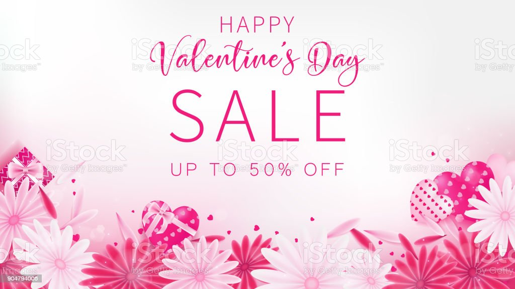 Valentine's Day Sale banner as sweet tone color
