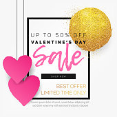 Valentine's Day Sale banner, background, template, card, brochure, flyer, design. Beautiful, hand drawn hanging paper hearts with golden stain with glitter, black frame. Modern 3d effect with shadows