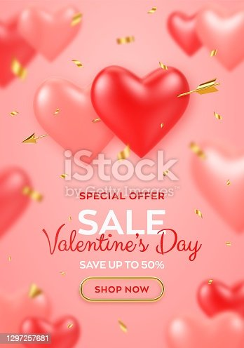 istock Valentines day sale banner. Couple realistic 3d red and pink heart shaped balloons pierced by cupids golden arrow and confetti. Background, flyer, poster, greeting card. Vector illustration. 1297257681