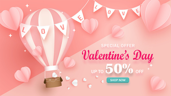 Valentine's day sale banner. Cute hot air balloons decorated with basket, Paper hearts pink and white. Fancy flags with text love. Illustration vector of love for advertising, poster, celebration.