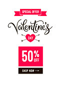 Valentine's day sale banner design email template and poster with heart icon, ribbon and hand lettering calligraphy text. Vector clearance Illustration for online shop or mobile app, isolated on white