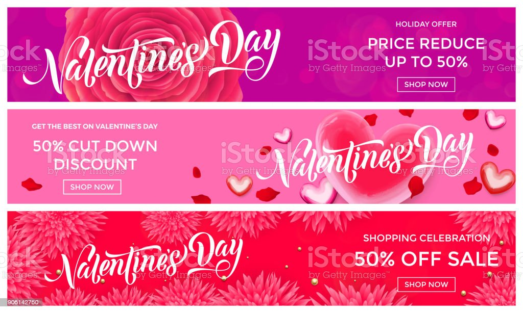 Valentines Day sale banner design template of pink red hearts and flower petals background. Vector 14 February Valentine day holiday sale promo offer discount for fashion shop