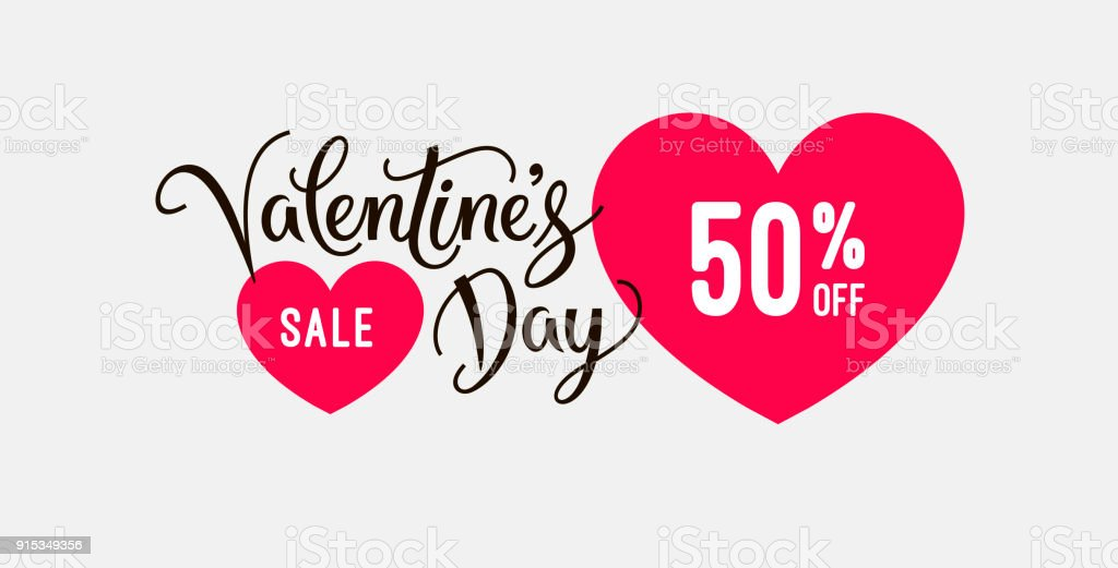 Valentines Day Sale Banner Design Template With Heart Icons And Hand