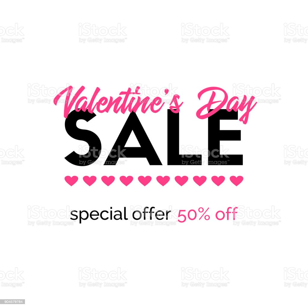 Valentines Day Sale Banner Discount Template Stock Vector Art More