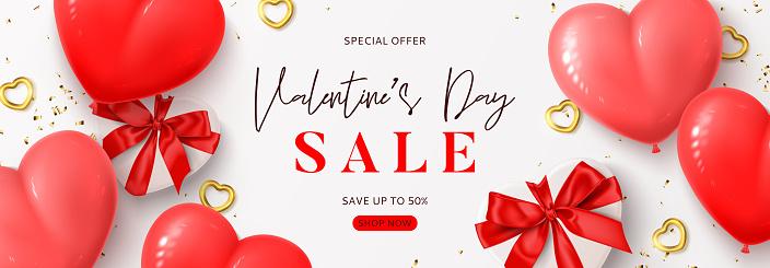 Valentine's Day sale banner template