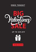 Valentines day sale banner template. Vector illustration. Invitation, discount voucher, poster, flyer, brochure, wallpaper design.