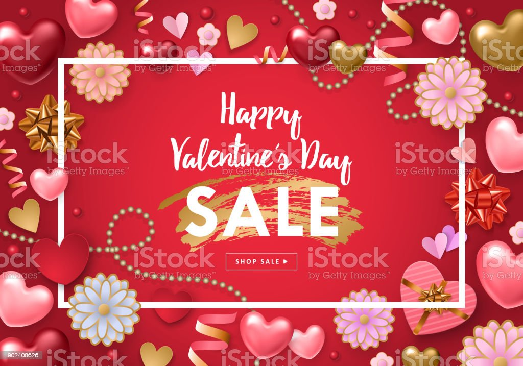 Valentines Day Sale Banner Template Stock Vector Art More Images