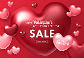 Valentines day sale banner template for social media advertising, invitation or poster design with realistic heart shapes background. Vector illustration
