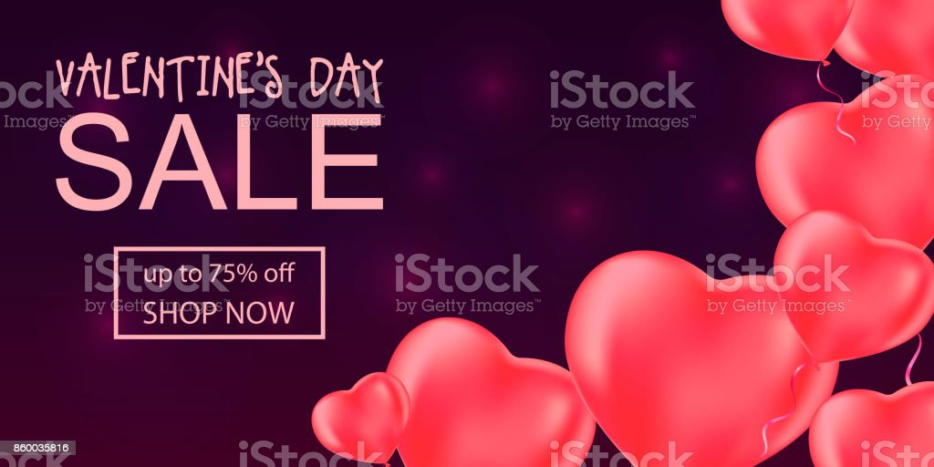Valentine's day sale banner with hart balloons. vector art illustration