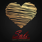 Valentine's day sale card hand drawn line gold heart. Vector.