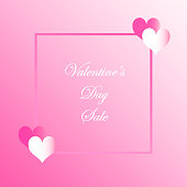 Vector Valentine's Day Sale Card Hearts With Pink Background With Text Banner Sign