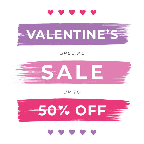 Valentine's Day Sale design for advertising, banners, leaflets and flyers. vector art illustration