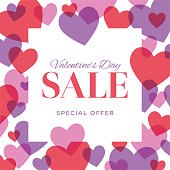 Valentine's Day Sale design for advertising, banners, leaflets and flyers. Stock illustration