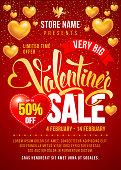 Valentines Day Sale Design Template. Calligraphy Inscription Valentines. Easy to edit and Customize. Place You Text and Store Name. Vector Stock Illustration.