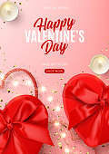 Valentine's Day sale flyer template. Vector illustration with realistic red gift boxes, sparkling light garland, candles and confetti on pink background. Promo discount banner.