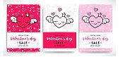 Valentine's day sale flyers set