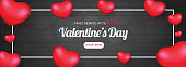 Valentine's Day sale header or banner design with 50% discount offer and decorative heart shapes.