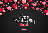Happy saint valentine's day sale, holiday objects on black. Vector illustration. Glittering hearts, stars and flowers. Flyer, card, menu, cover, banner, voucher design tepmlate, horizontal border.