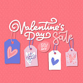 Valentine's day sale offer, banner template. lettering Text with hanfing tags isolated on red background. Valentines Heart sale tags. Shop market poster design. Flat hand drawn illustration