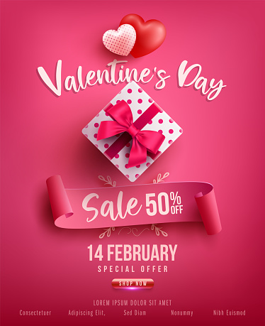Valentine's Day Sale Poster or banner with sweet gift,sweet heart and lovely items on pink background.Promotion and shopping template or background for Love and Valentine's day concept.Vector EPS10