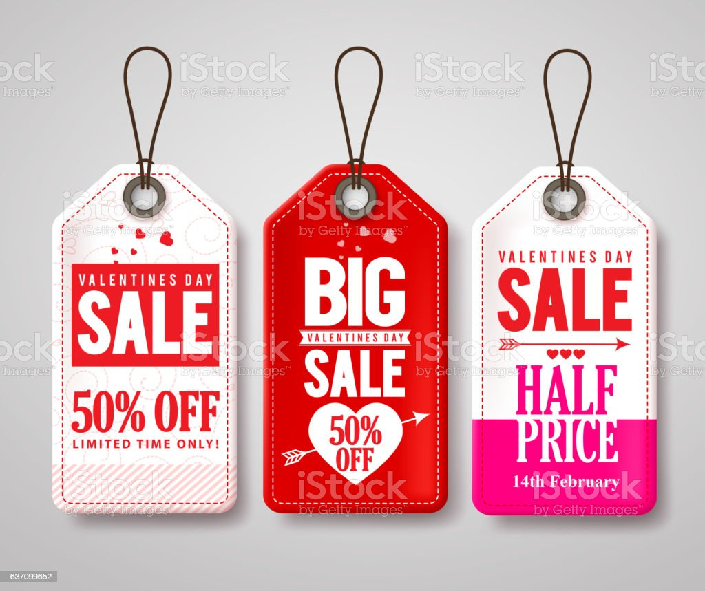 Valentines day sale price tags and labels vector set vector art illustration