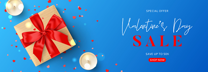 Valentine's Day sale promo banner template