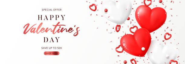 valentine's day sale promo banner - white background stock illustrations
