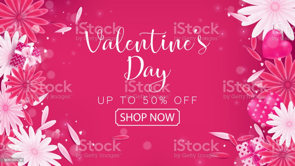 Valentine's Day Sale red magenta banner as sweet tone color