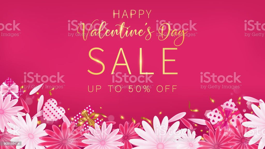 Valentine's Day Sale red magenta banner as sweet tone
