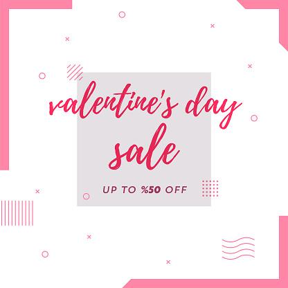 Valentine's Day Sale Retro Web Banner for Social Media