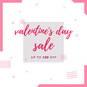 Valentine's Day Sale Retro Web Banner for Social Media
