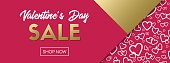 Valentine's Day sale. Shop now. Vector banner template for online shopping