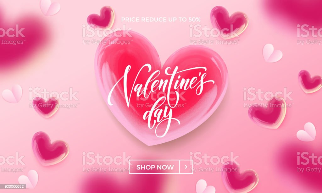 Valentinstagverkauf Einkauf Banner Oder Poster Designvorlage Von Red