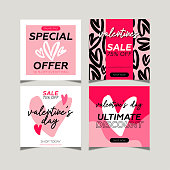 istock Valentine's day sale social media post collection. Hand drawings heart shapes and pink colors background. 1299411931