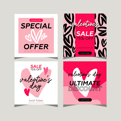 Valentine's day sale social media post collection. Hand drawings heart shapes and pink colors background.