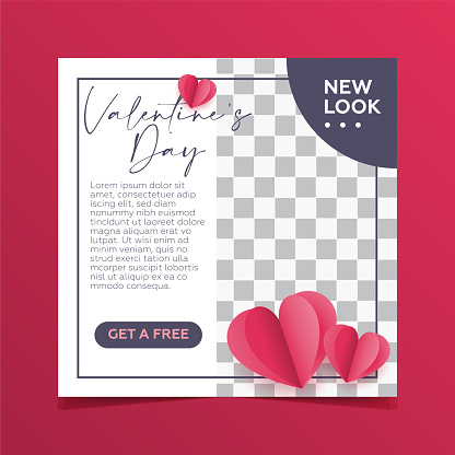 Valentine's day. Sale social media stories post poster collection.Heart shape and red color background.