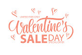 Valentine's Day Sale special offer banner with hand drawn lettering and hearts for holiday shopping. Limited time only.