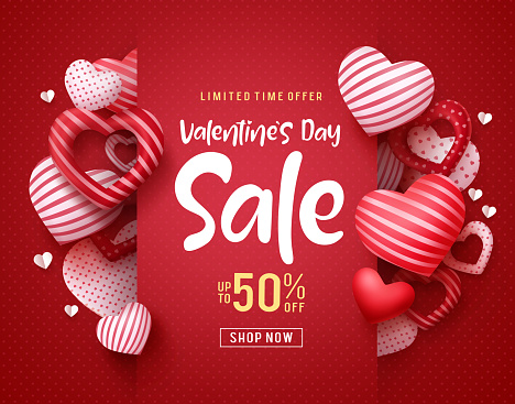Valentines day sale vector banner. Sale discount text for valentines day shopping promotion