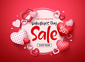 Valentines day sale vector banner. Valentines day sale promotion text with hearts elements and white space in red background. Vector illustration.