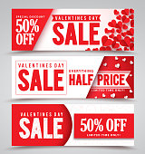 Valentines day sale vector banners with different designs for half price promotions with red hearts elements in a background. Vector illustration.
