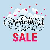 Valentine's day sale vector design template. Valentine's Day lettering.