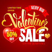 Advertising design for Valentines Day Sale with calligraphic text Valentines on red background with place for percents on heart shape. Vector illustration.