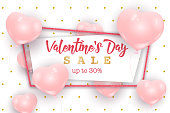 Valentine's Day sale web banner, flyer concept. Pink cute balloons in shape of heart randomly flying over white background, gold dots pattern, realistic vector illustration.