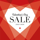Valentine's Day Sale with Geometric Heart - Illustration