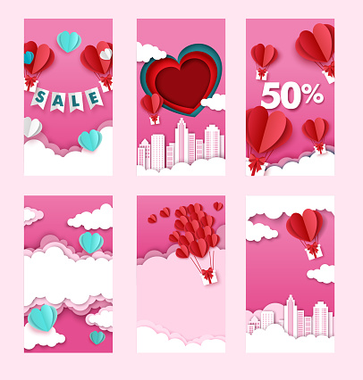 Valentines day sales and discounts social media stories, posts template, paper cut style illustration.