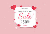 Valentine's day sales banner template. Valentine's Day design with red paper hearts. Design for postcards, flyers, advertising. Vector illustration.
