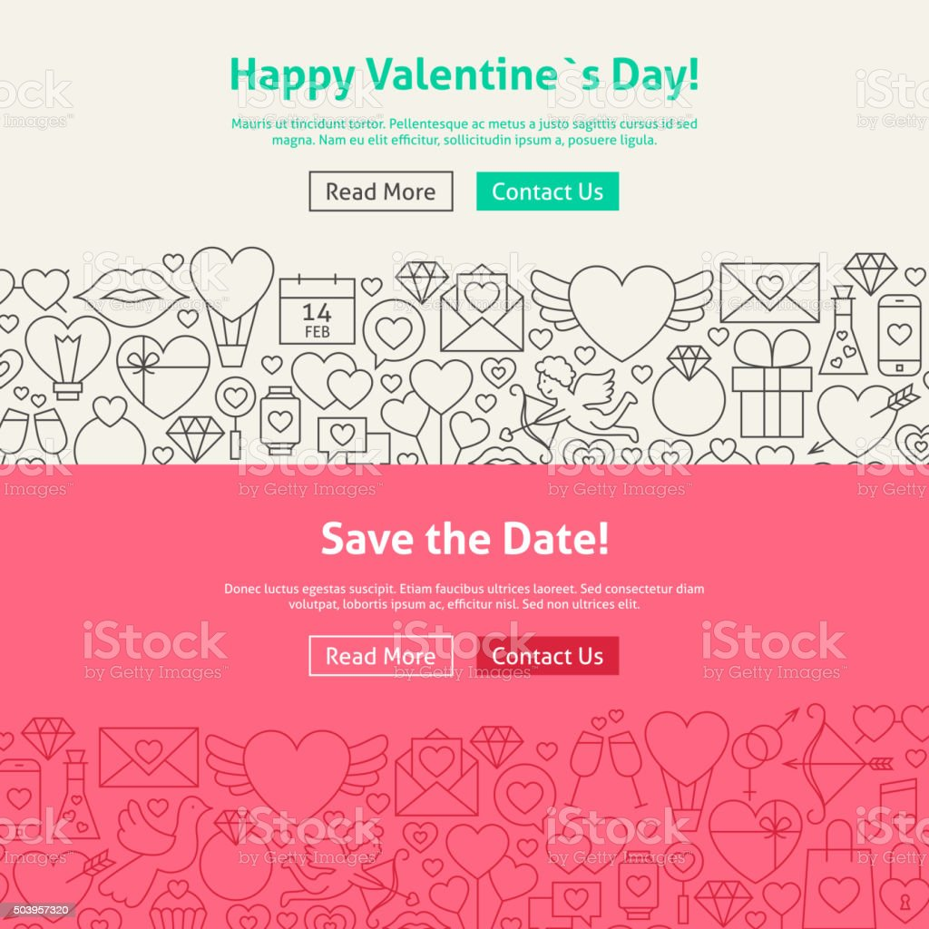 Valentine's Day Save the Date Line Art Web Banners Set vector art illustration