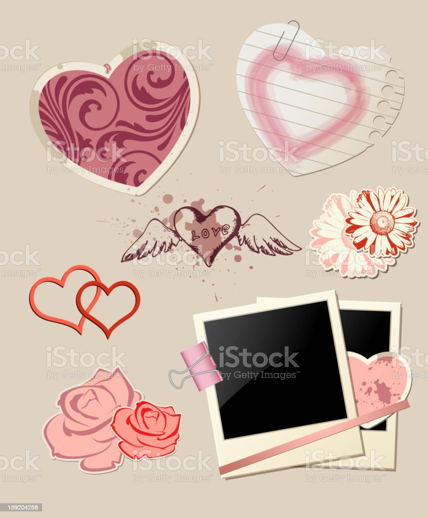 Valentine`s Day scrapbook royalty-free stock vector art