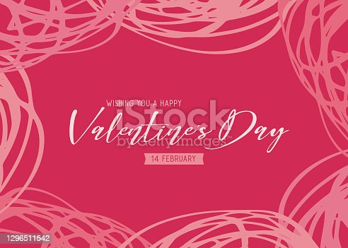 istock Valentine's Day scribbles greeting card - pink background 1296511542